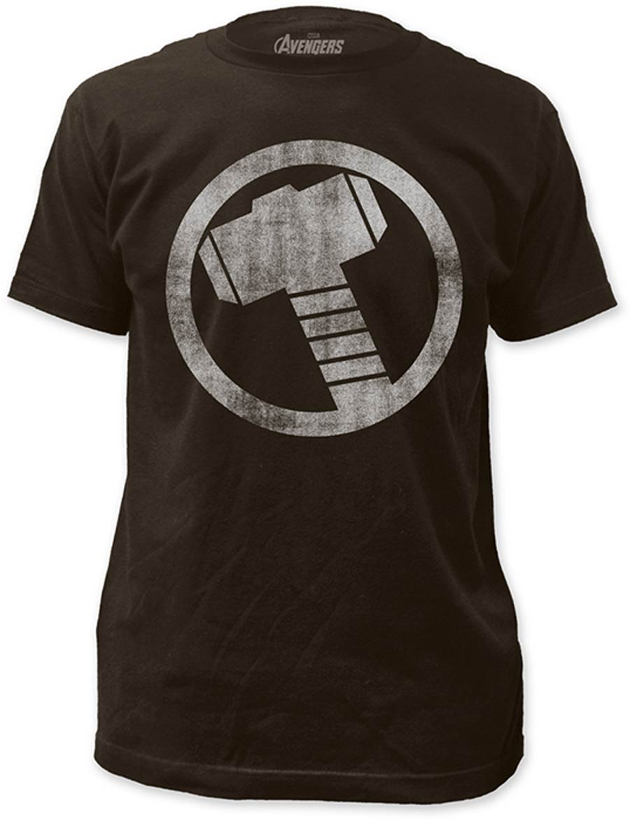 Thor Distressed Icon Fitted Jersey Coal T-Shirt Large