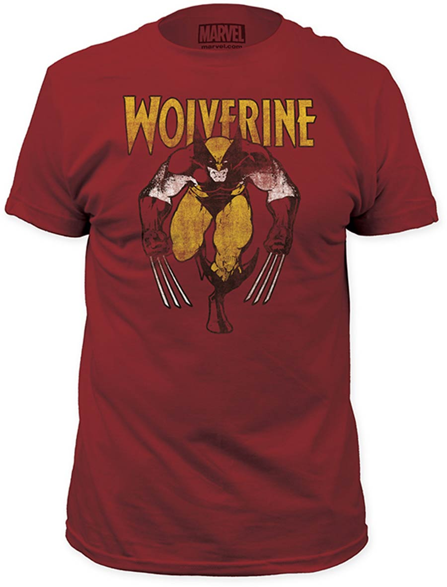 Wolverine On Red Fitted Jersey Vintage Red T-Shirt Large