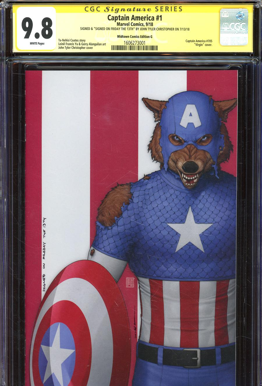 Captain America Vol 9 #1  Midtown Exclusive John Tyler Christopher Cover G Cap Wolf Virgin Variant Signed Signed On Friday The 13th By John Tyler Chri