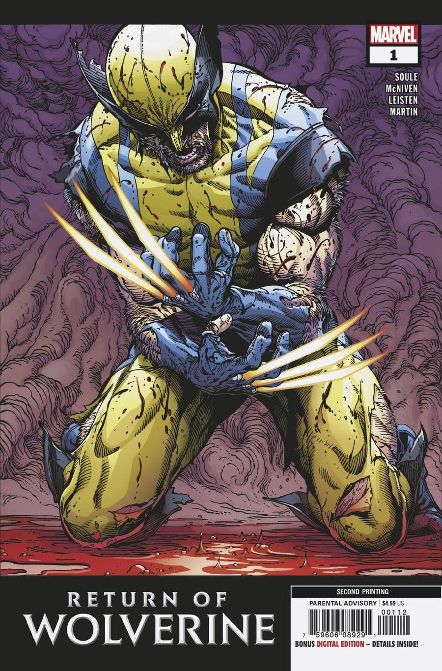Return Of Wolverine #1 Cover Z-H 2nd Ptg Variant Steve Mcniven Cover