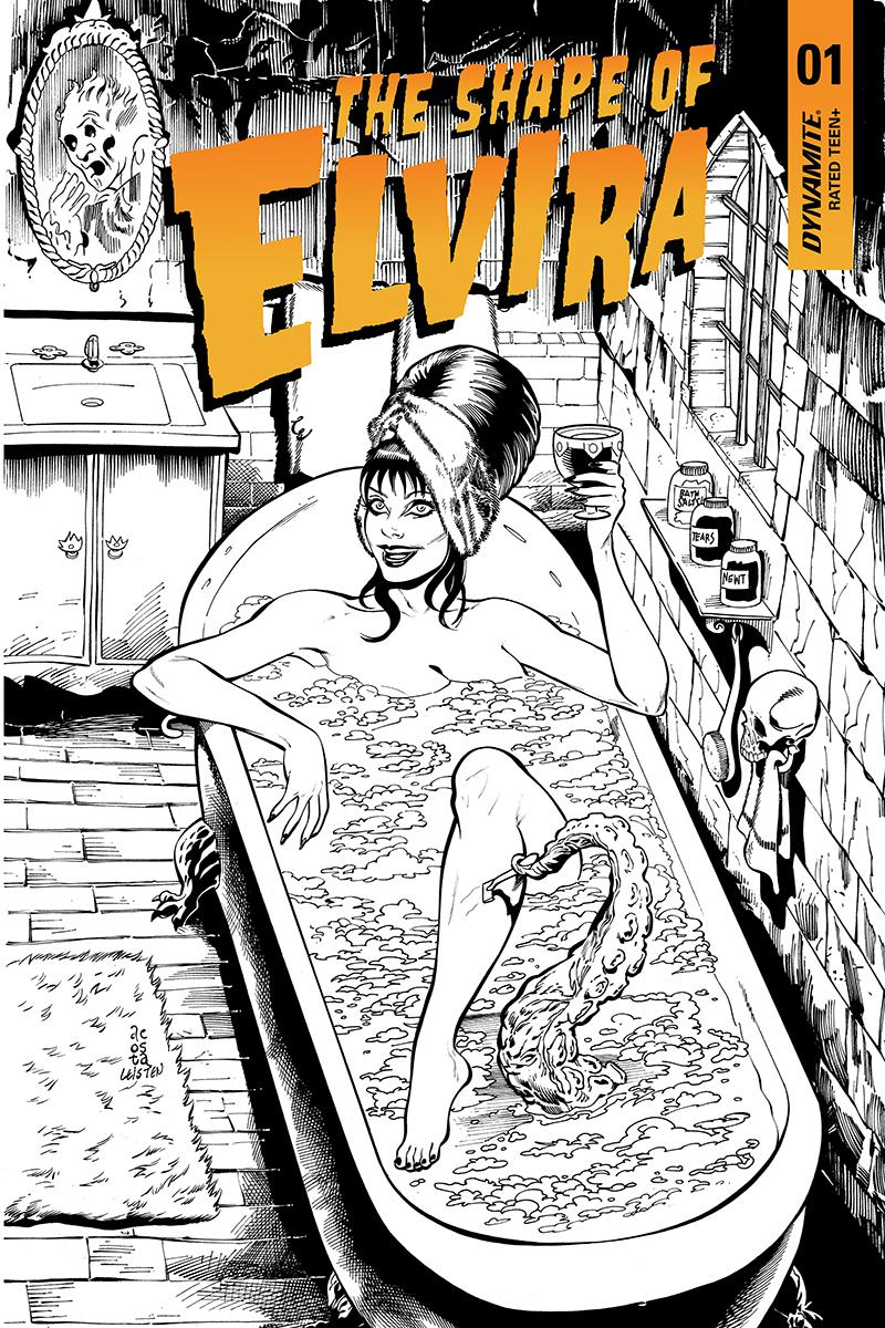 Elvira Shape Of Elvira #1 Cover L Incentive Dave Acosta Black & White Cover