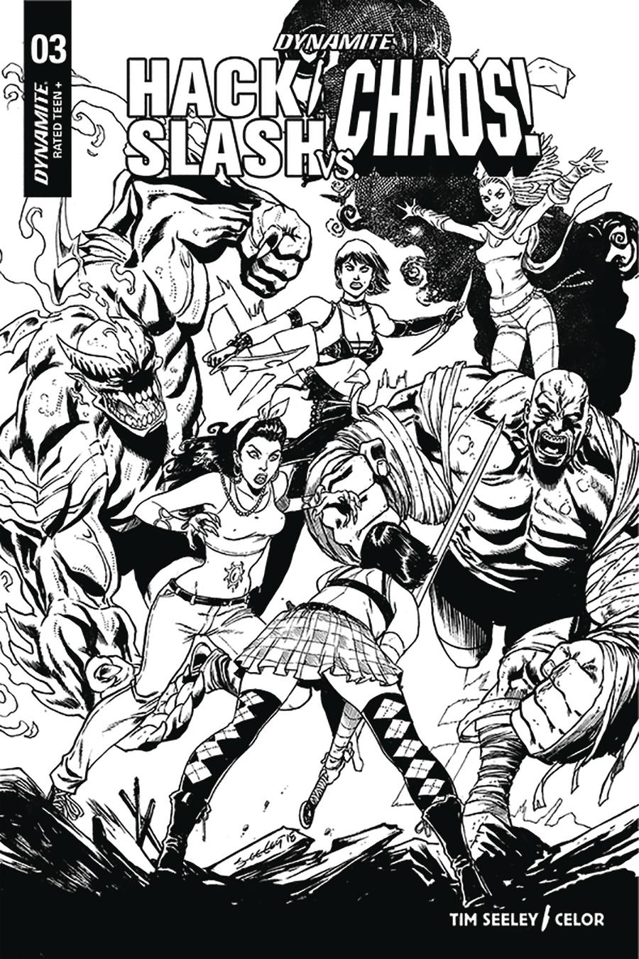 Hack Slash vs Chaos #3 Cover F Incentive Tim Seeley Black & White Cover