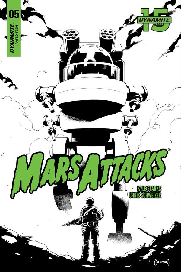 Mars Attacks Vol 4 #5 Cover G Incentive Ruairi Coleman Black & White Cover