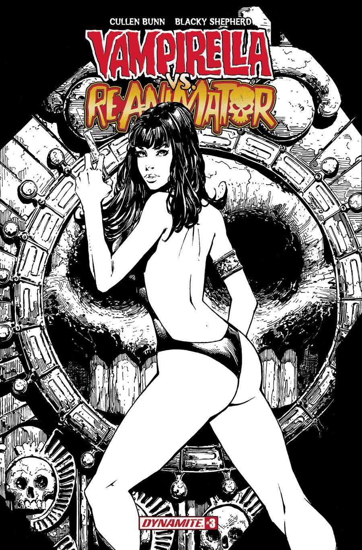 Vampirella vs Reanimator #3 Cover F Incentive Johnny Desjardins Black & White Cover