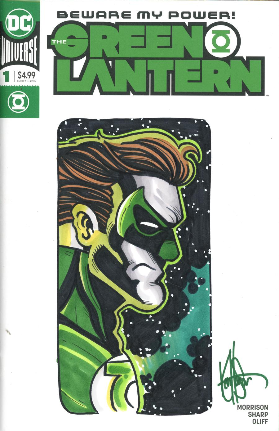 Green Lantern Vol 6 #1 Cover I DF Signed & Remarked With A Color Green Lantern Sketch By Ken Haeser