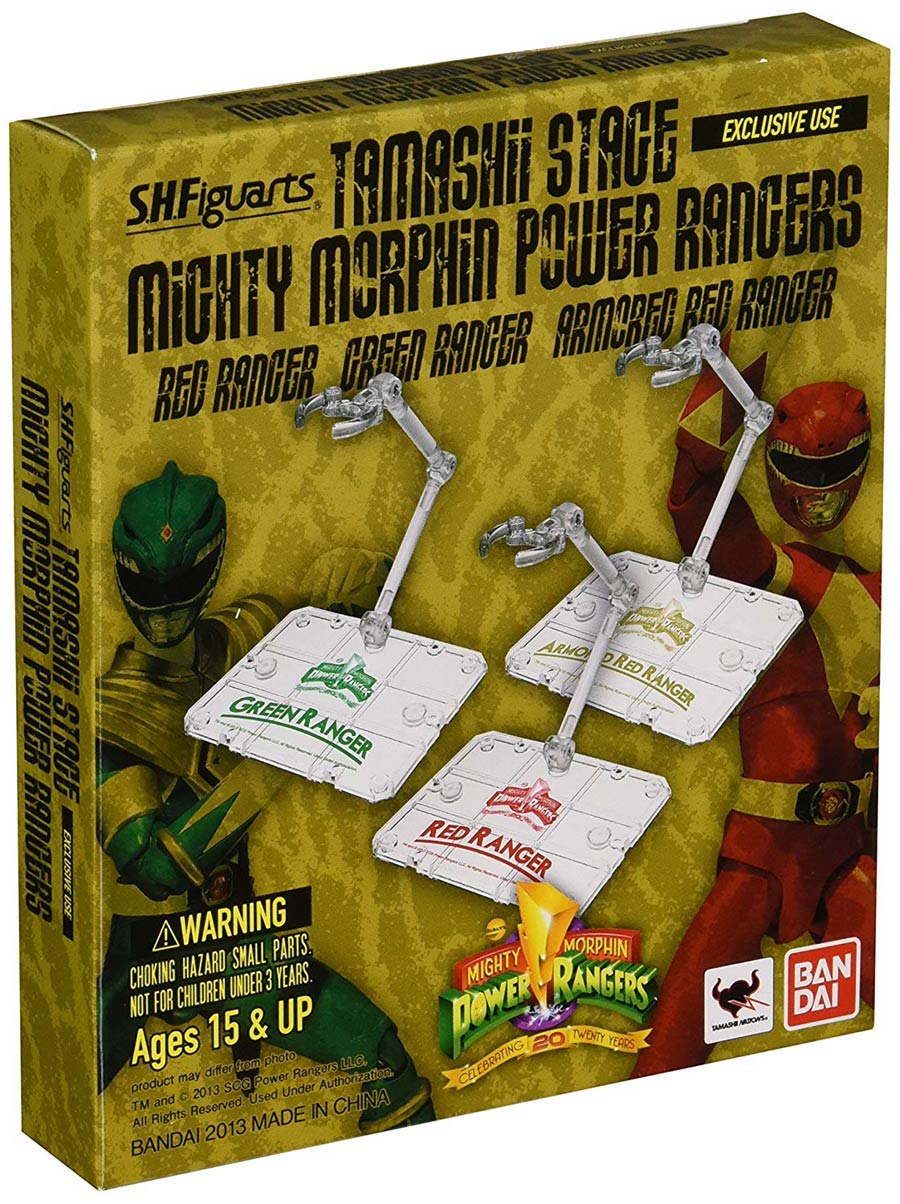 Tamashii Stage Mighty Morphin Power Rangers Bandai Exclusive 2013 3 Stand Set