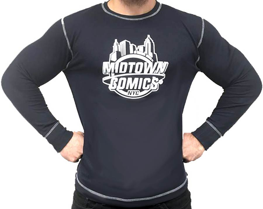 Midtown Comics White Logo Mens Navy Long Sleeve Thermal Shirt XX-Large
