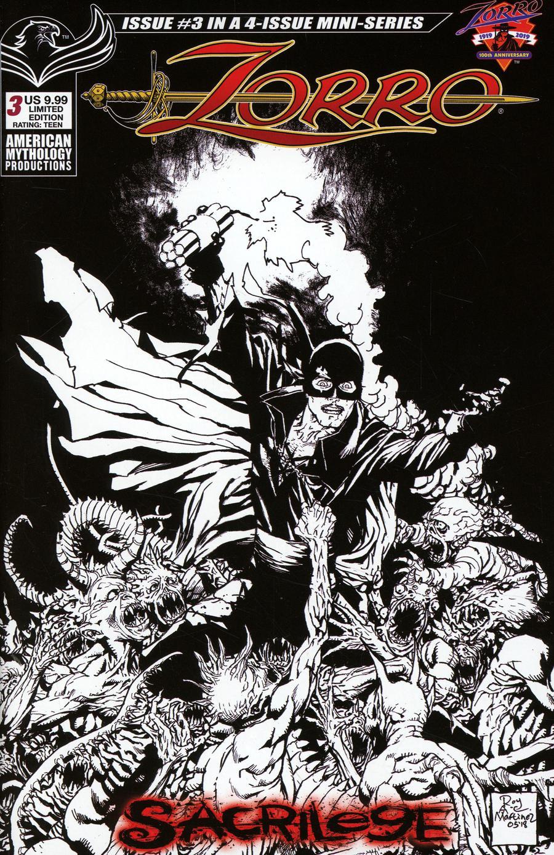 Zorro Sacrilege #3 Cover C Variant Mauricio Melo Visions Of Zorro Black & White Limited Edition Cover