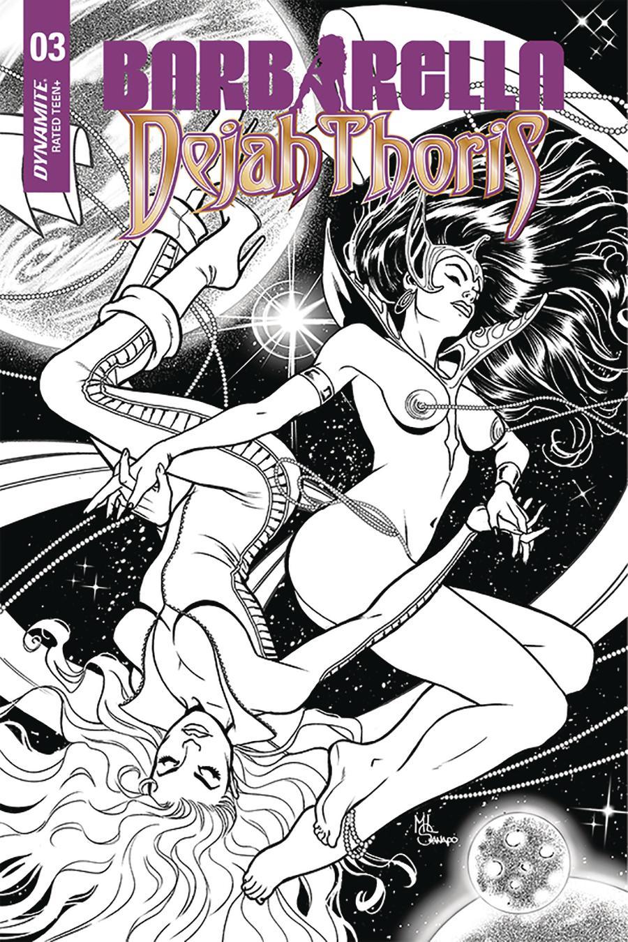 Barbarella Dejah Thoris #3 Cover J Incentive Maria Sanapo Seduction Black & White Cover