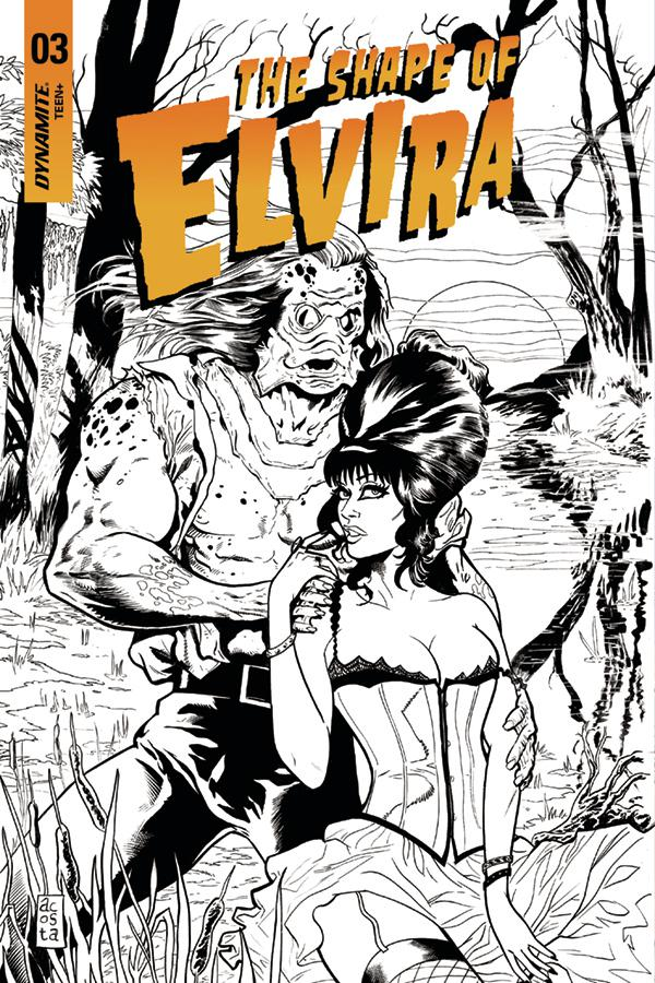 Elvira Shape Of Elvira #3 Cover G Incentive Dave Acosta Black & White Cover
