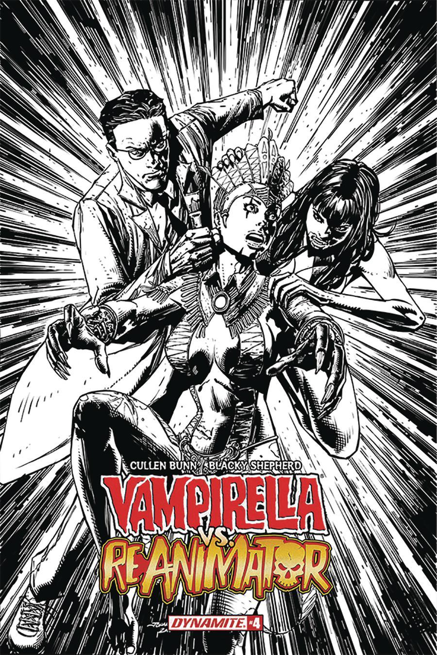 Vampirella vs Reanimator #4 Cover F Incentive Johnny Desjardins Black & White Cover