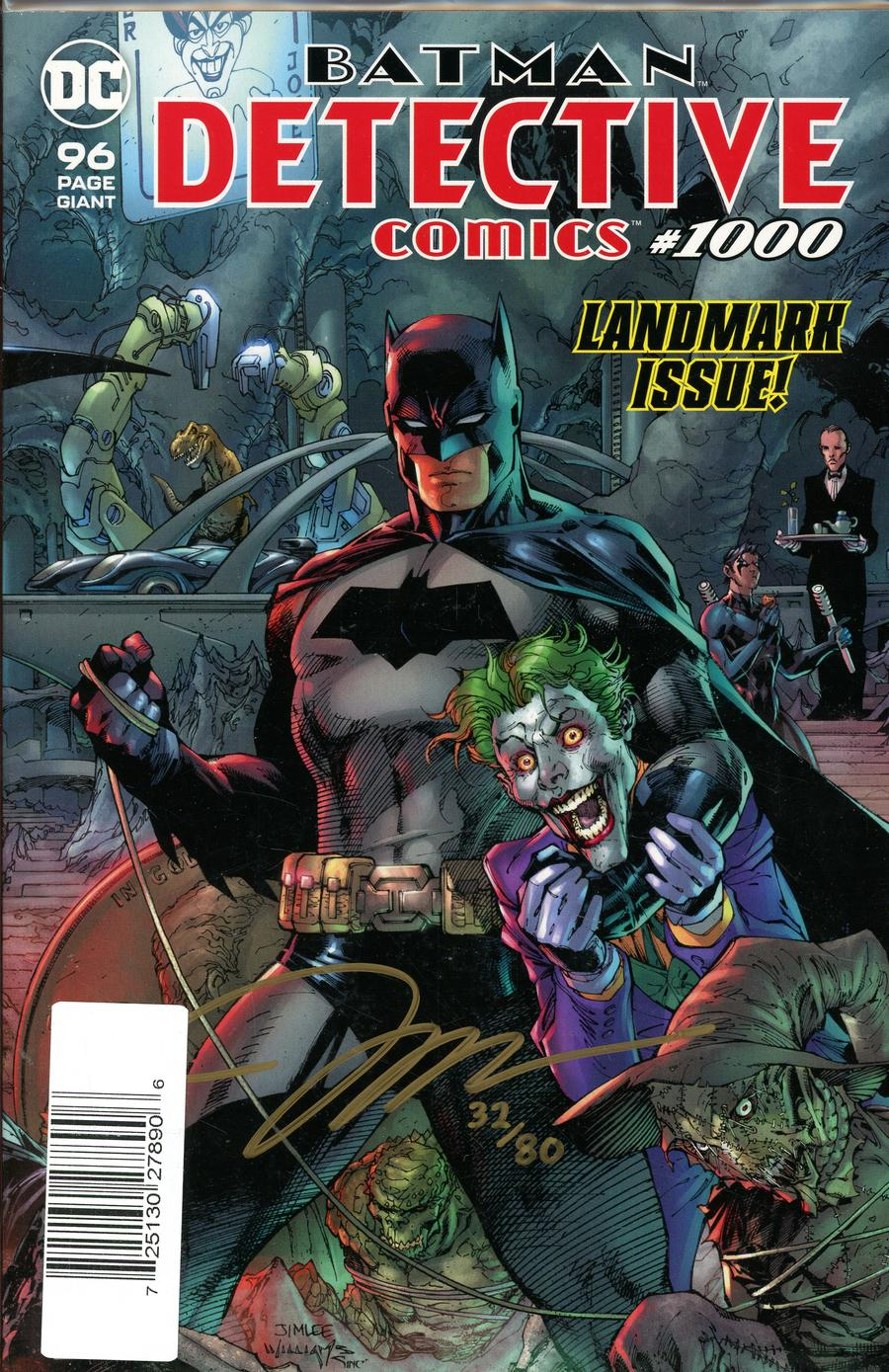 Detective Comics Vol 2 #1000 Cover T DF Gold Signature Series Signed By Jim Lee