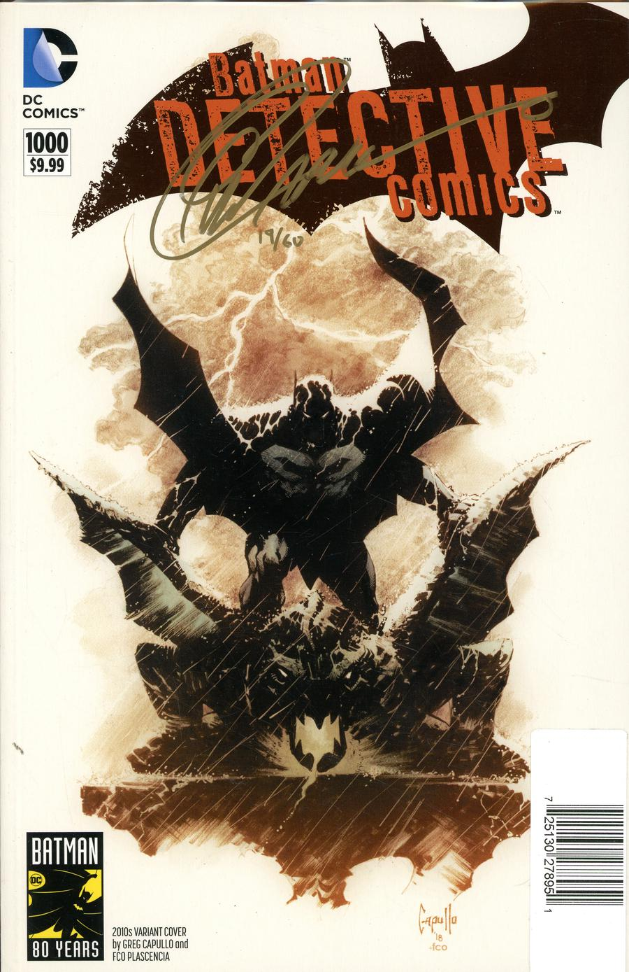 Detective Comics Vol 2 #1000 Cover Y DF Greg Capullo 2010s Variant Cover Gold Signature Series Signed By Greg Capullo