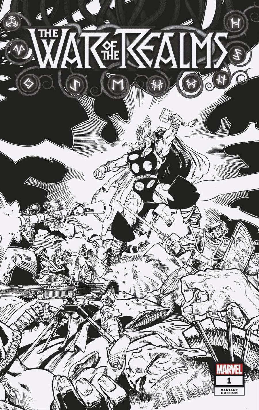 War Of The Realms #1 Cover Y Incentive Walter Simonson Hidden Gem Black & White Variant Cover