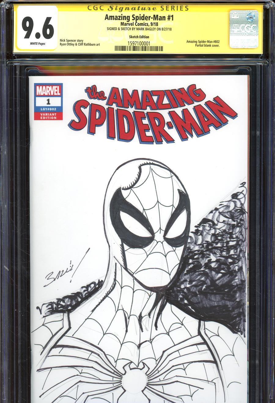 Amazing Spider-Man Vol 5 #1 Cover Z-P Variant Mark Bagley Hand-Drawn Sketch Cover CGC 9.6 (Filled Randomly)