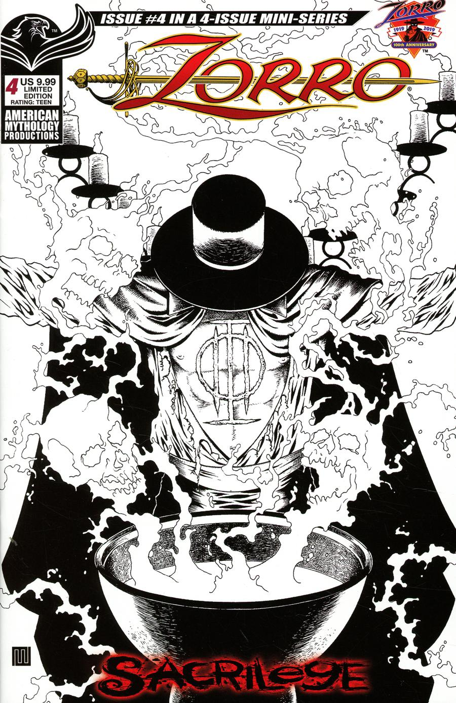 Zorro Sacrilege #4 Cover C Variant Mike Wolfer Visions Of Zorro Black & White Limited Edition Cover