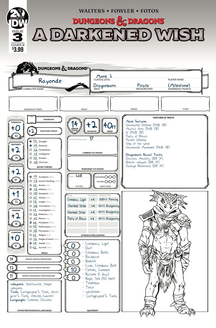 Dungeons & Dragons A Darkened Wish #3 Cover B Variant Character Sheet Cover