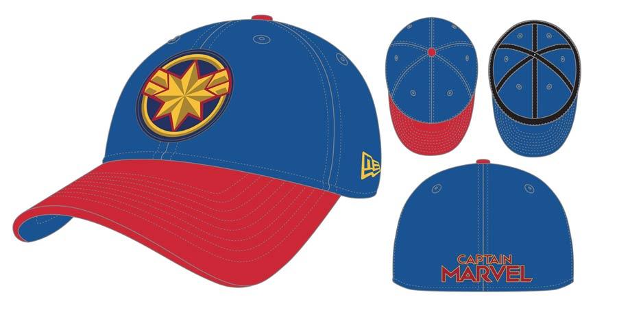 Captain Marvel Movie Royal & Red Neo 3930 Previews Exclusive Flexfit Cap