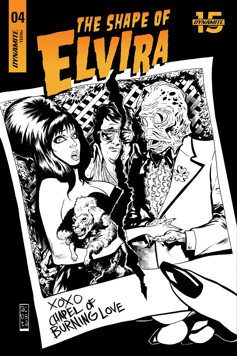 Elvira Shape Of Elvira #4 Cover I Incentive Dave Acosta Black & White Cover