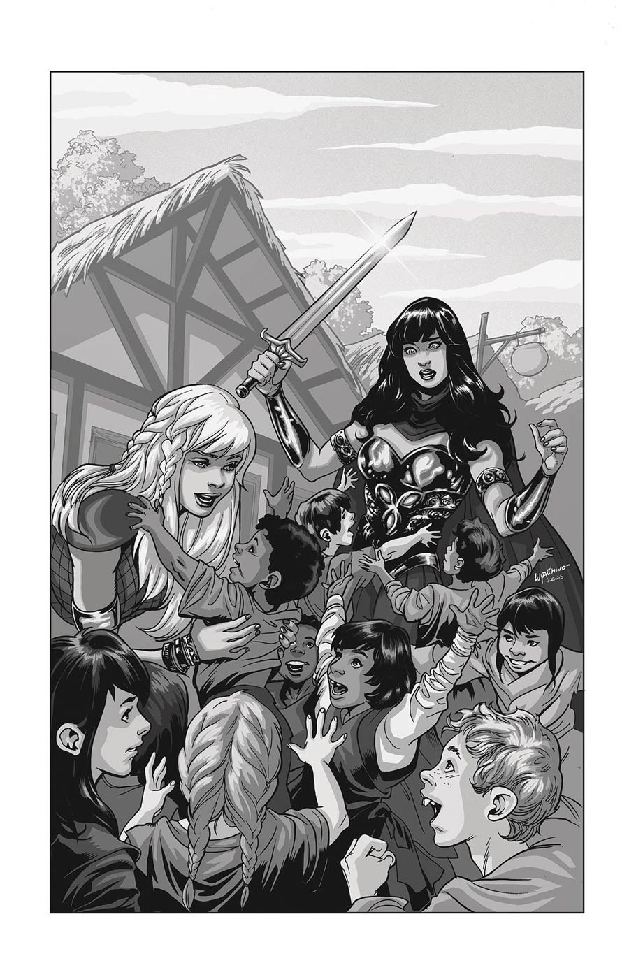 Xena Warrior Princess Vol 4 #1 Cover N DF Exclusive Rare Emanuela Luppacchino Virgin Black & White Variant Cover