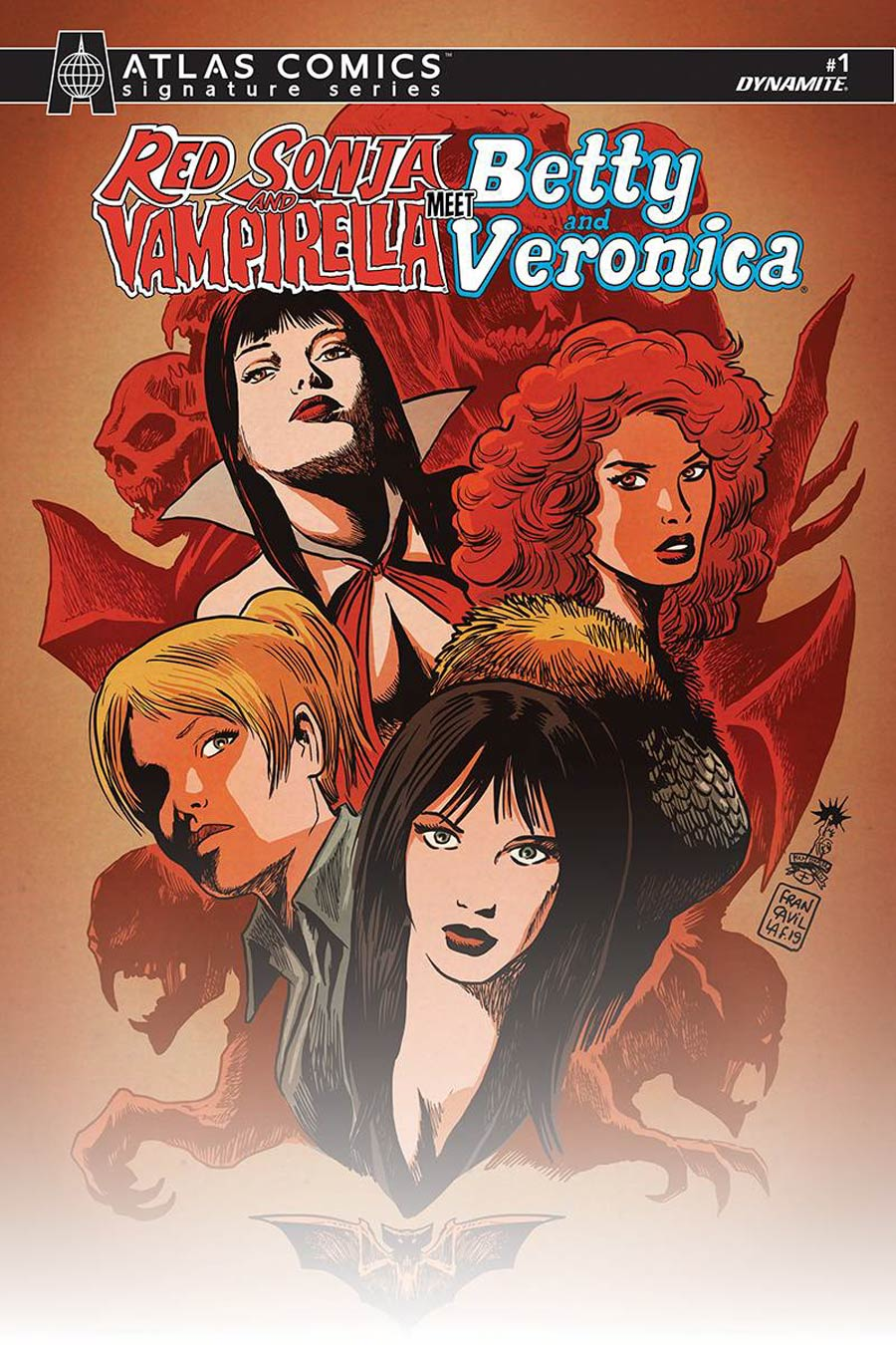 Red Sonja And Vampirella Meet Betty And Veronica #1 Cover N Atlas Edition Francesco Francavilla Variant Cover Signed By Amy Chu