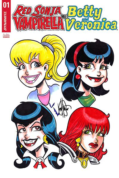 Red Sonja And Vampirella Meet Betty And Veronica #1 Cover U Ken Haeser 4-Character Remarked Edition