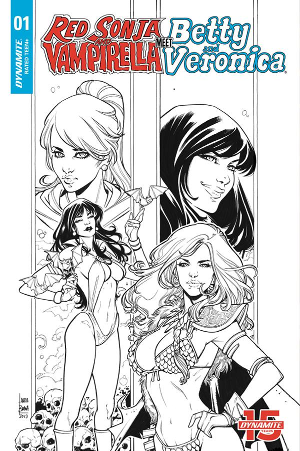 Red Sonja And Vampirella Meet Betty And Veronica #1 Cover I Incentive Laura Braga Black & White Cover