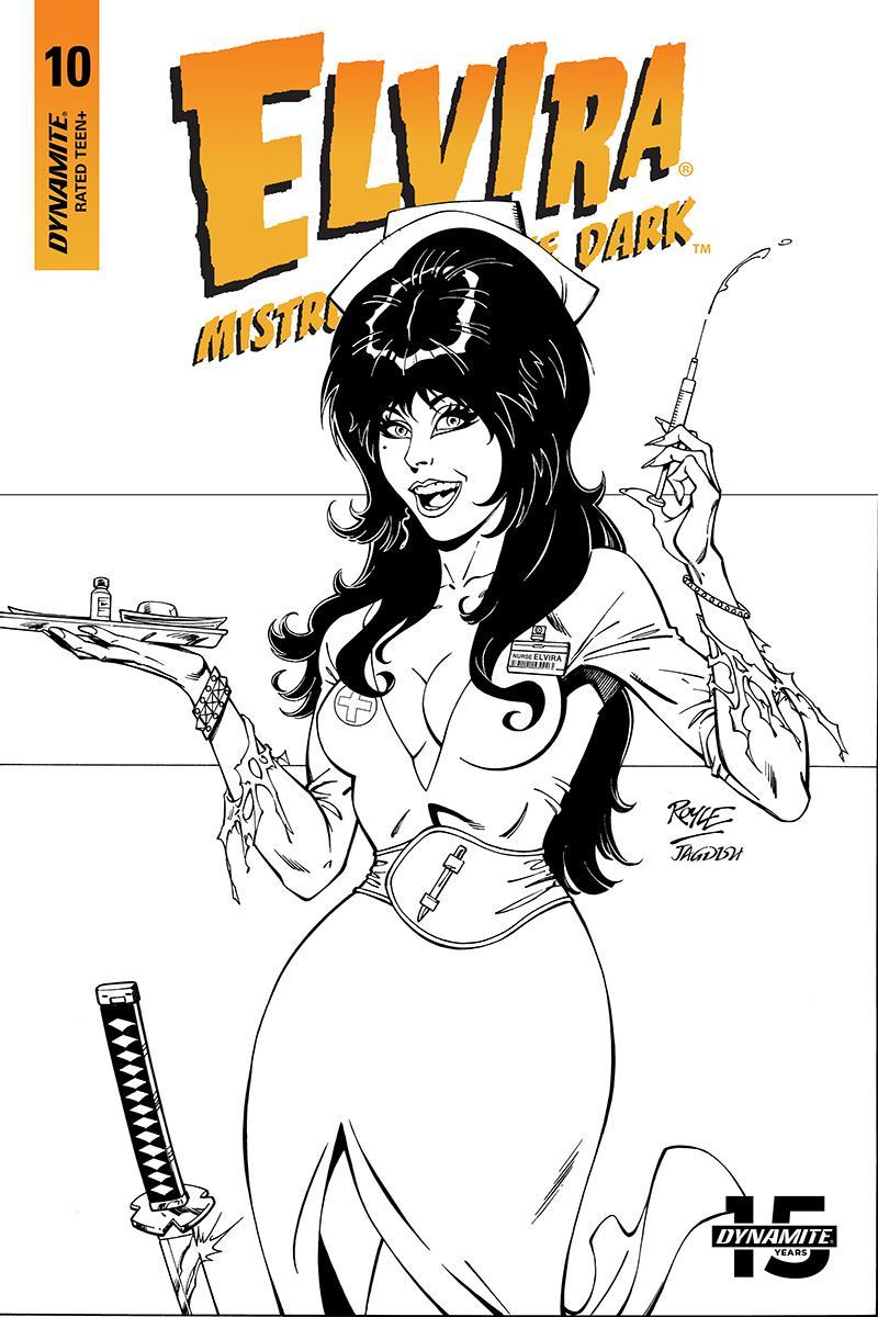 Elvira Mistress Of The Dark Vol 2 #10 Cover I Incentive John Royle Black & White Cover