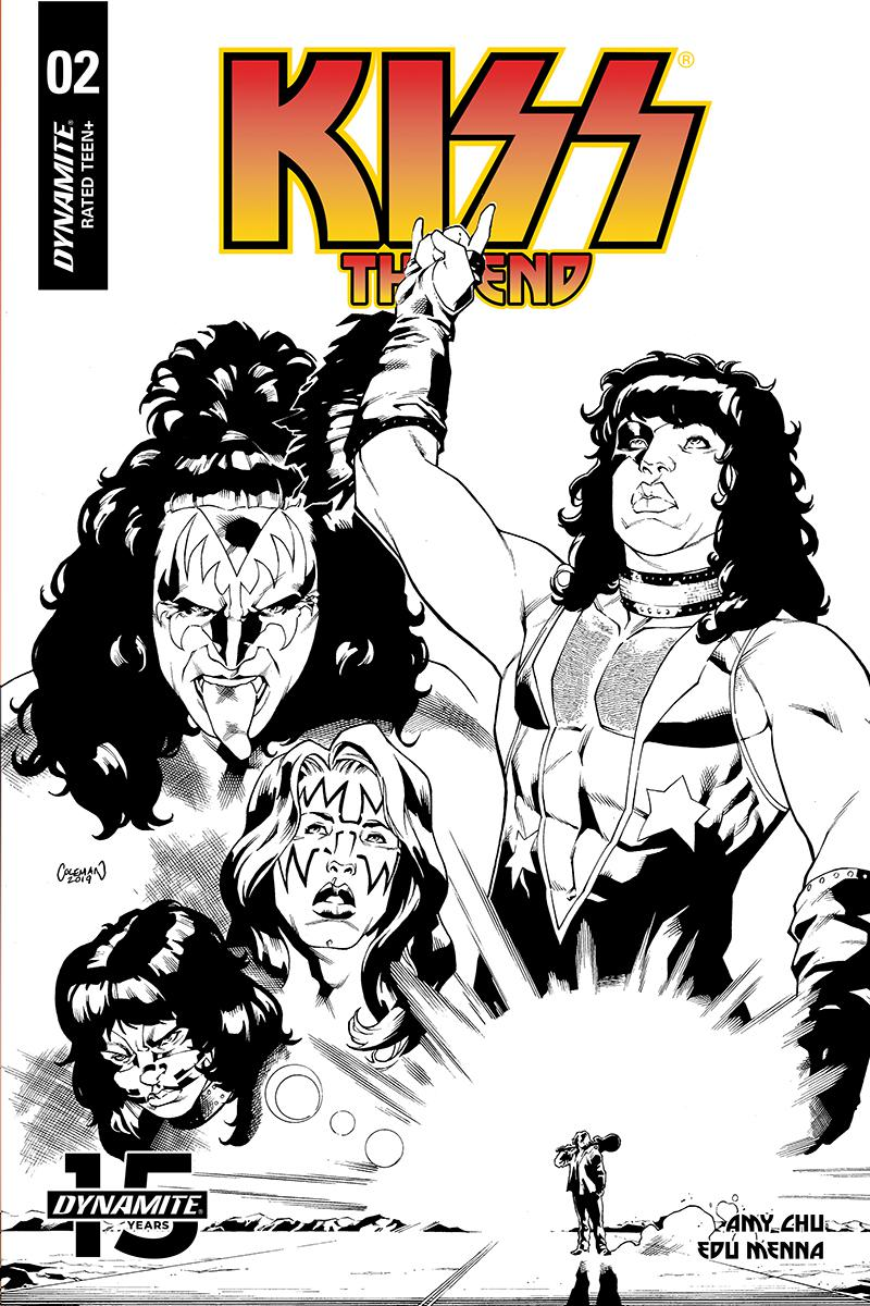 KISS The End #2 Cover F Incentive Ruairi Coleman Black & White Cover