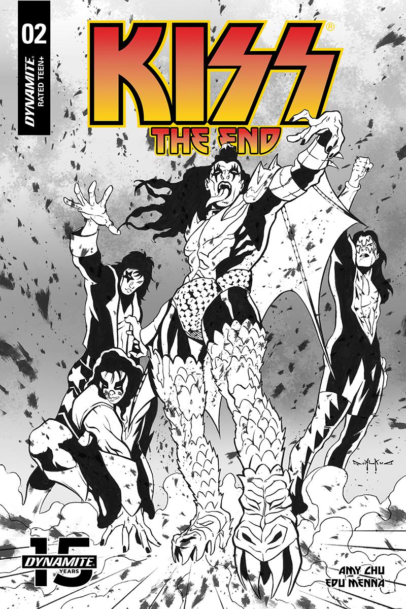 KISS The End #2 Cover G Incentive Pasquale Qualano Black & White Cover