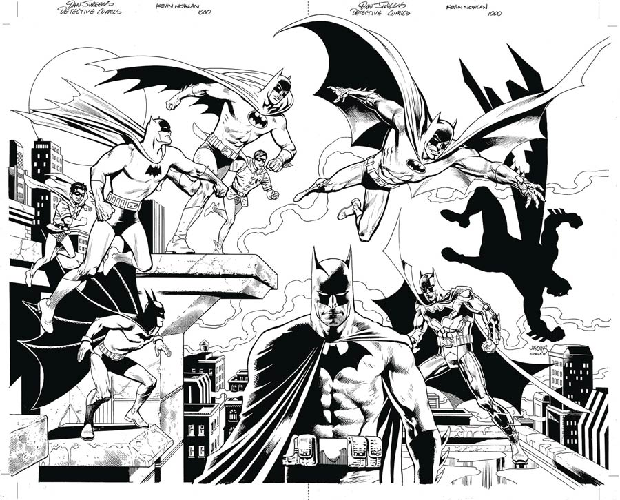 Detective Comics Vol 2 #1000 Cover Z-E DF Exclusive Dan Jurgens & Kevin Nowlan Virgin Black & White Variant Cover Gold Signature Series Signed By Scot