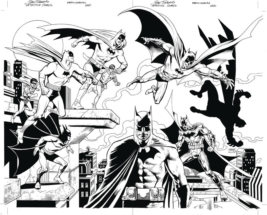 Detective Comics Vol 2 #1000 Cover Z-F DF Exclusive Dan Jurgens & Kevin Nowlan Virgin Black & White Variant Cover Gold Signature Series Signed By Tom