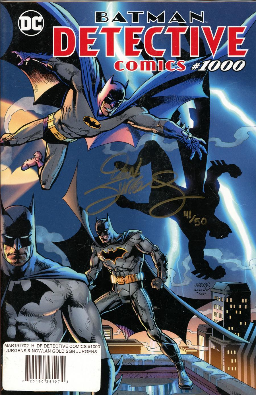 Detective Comics Vol 2 #1000 Cover Z-H DF Exclusive Dan Jurgens & Kevin Nowlan Variant Cover Gold Signature Series Signed By Dan Jurgens