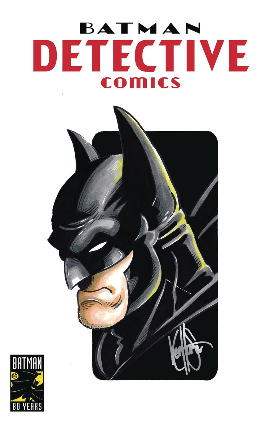 Detective Comics Vol 2 #1000 Cover Z-K DF Signed & Remarked With A Batman Hand-Drawn Sketch By Ken Haeser