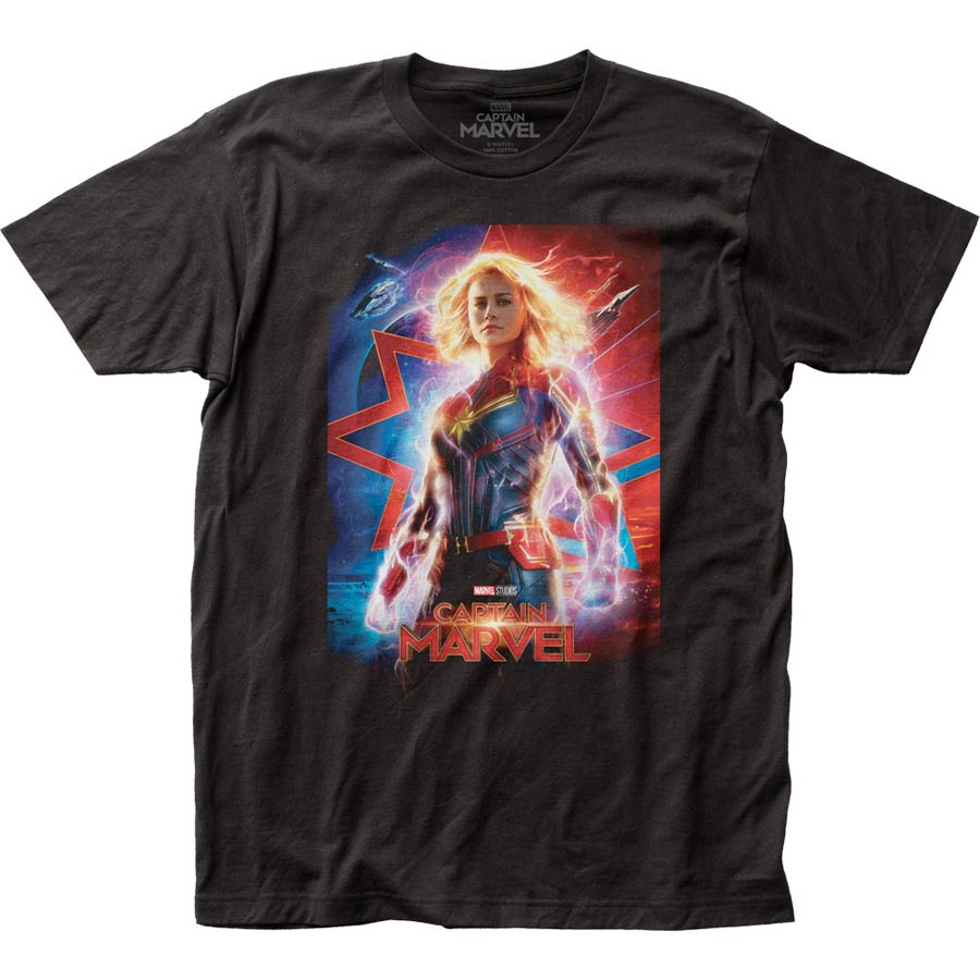 Captain Marvel Poster Fitted Jersey Black T-Shirt Large