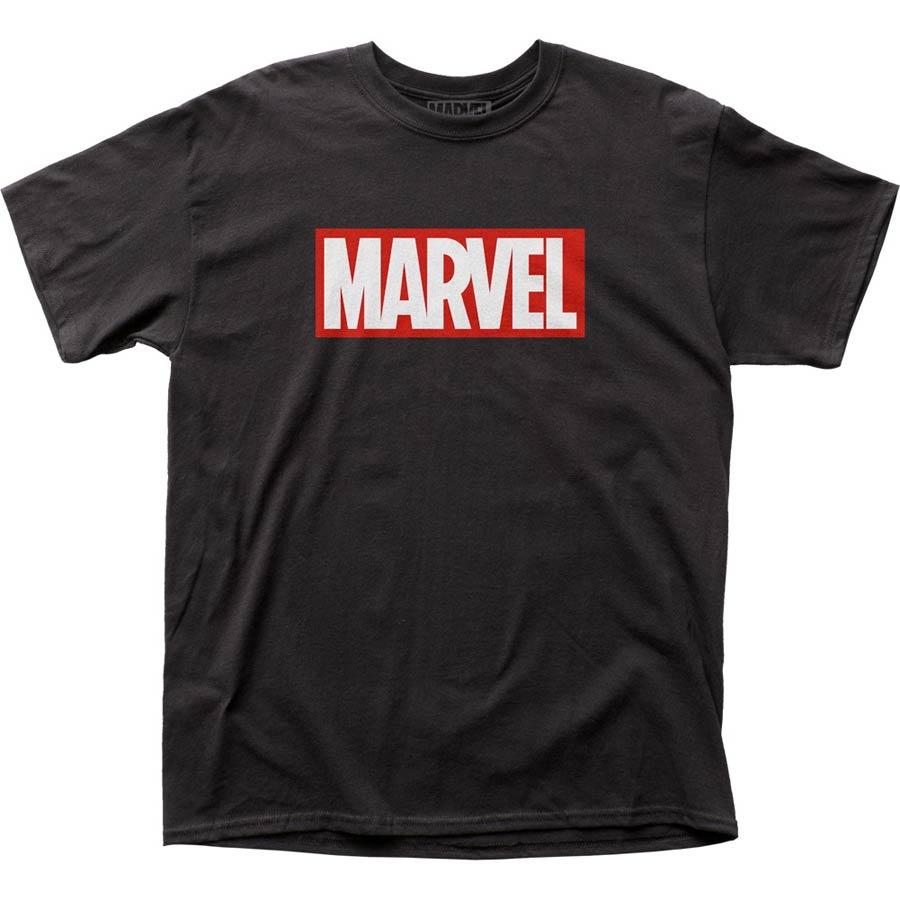 Marvel Comics Marvel Logo Black Mens T-Shirt Large