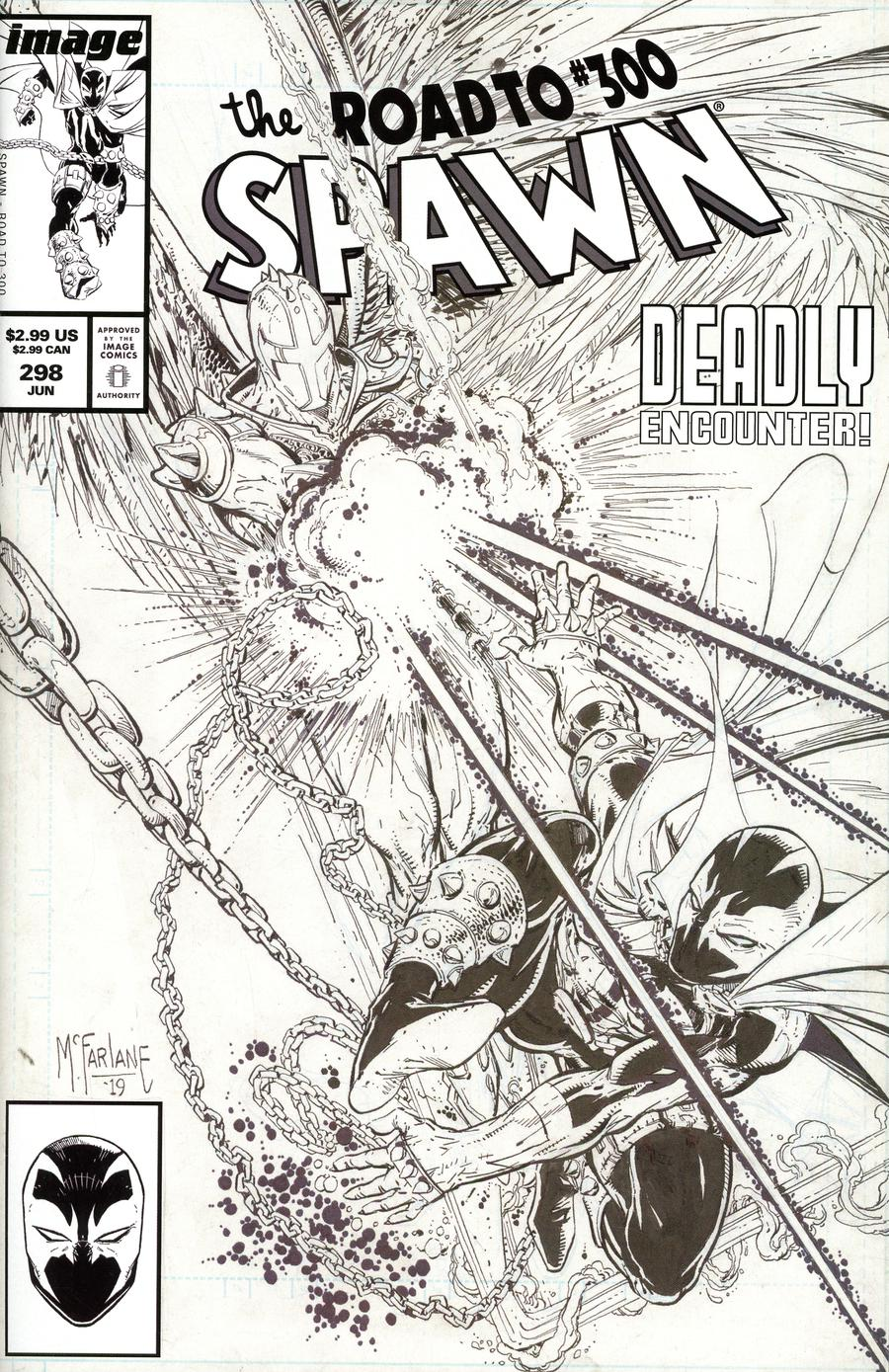 Spawn #298 Cover C Variant Todd McFarlane Black & White Edition