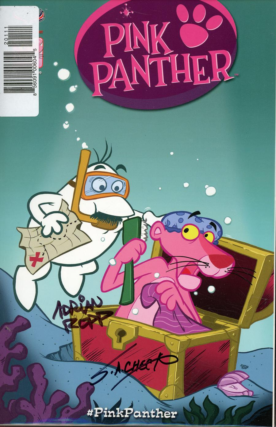 Pink Panther Vol 3 #1 Cover I Signed By Adrian Ropp & SA Check
