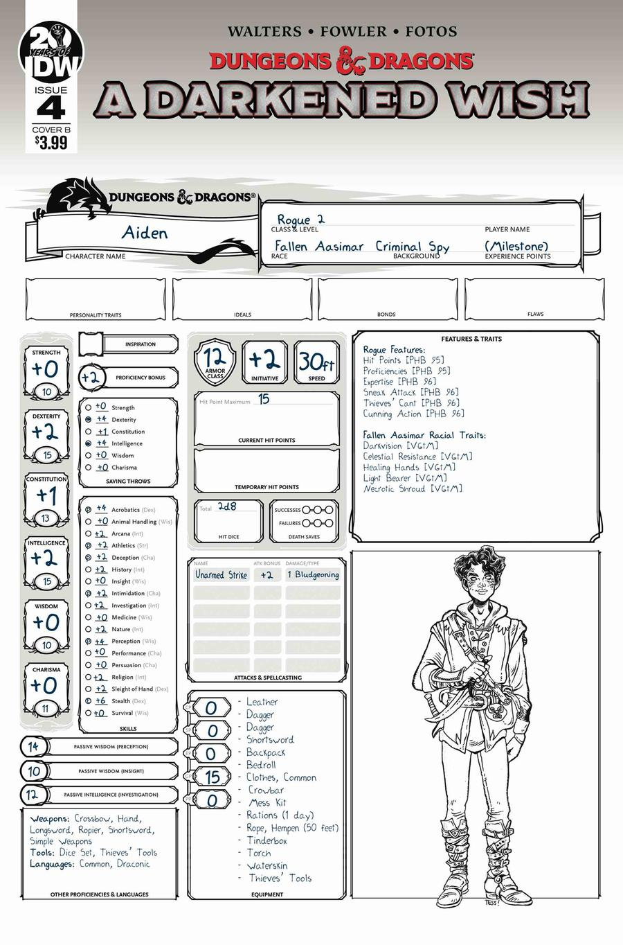 Dungeons & Dragons A Darkened Wish #4 Cover B Variant Character Sheet Cover