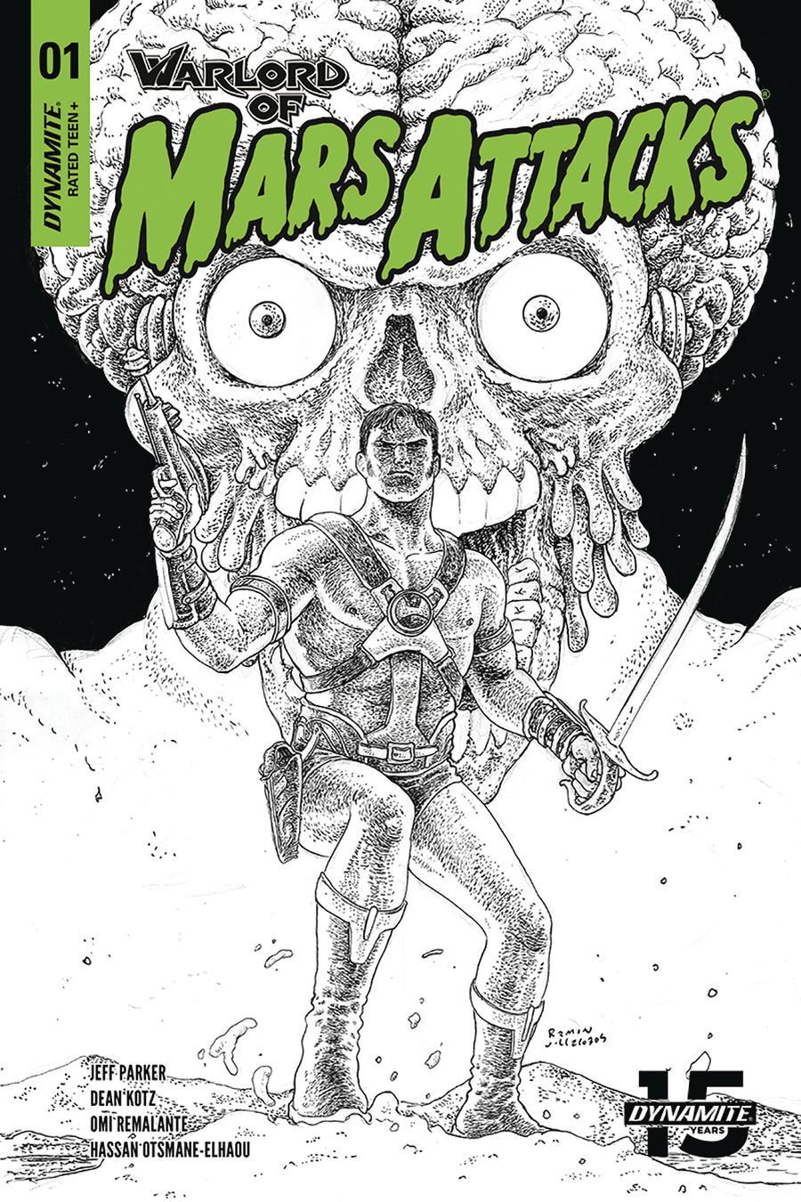 Warlord Of Mars Attacks #1 Cover H Incentive Ramon Villalobos Black & White Cover