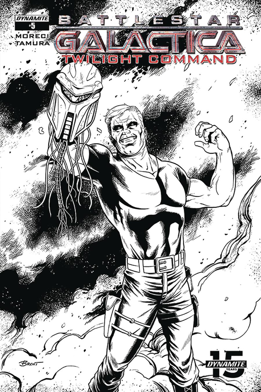 Battlestar Galactica Twilight Command #5 Cover C Incentive Brent Schoonover Black & White Cover