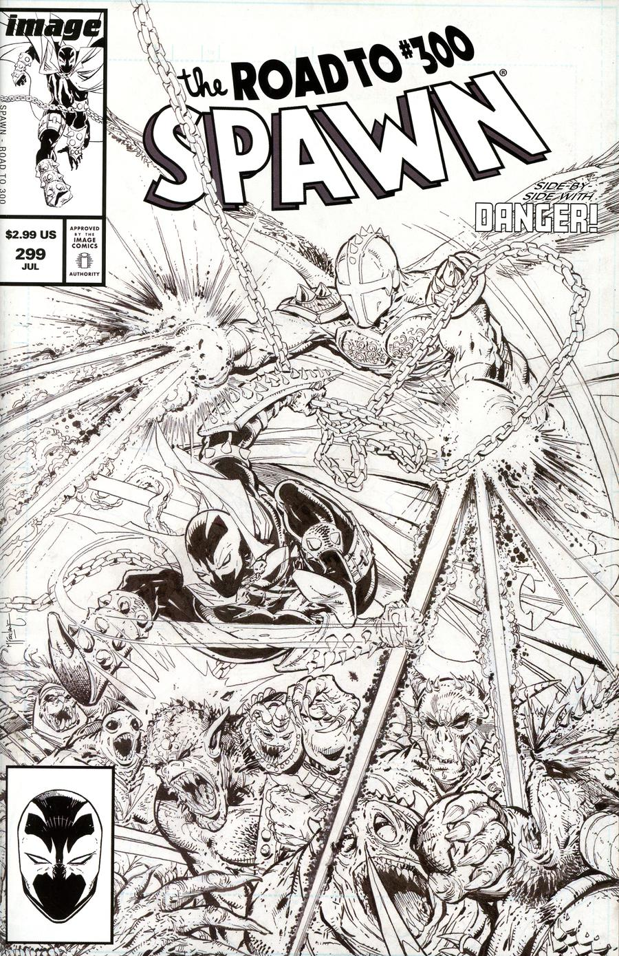 Spawn #299 Cover C Variant Todd McFarlane Black & White Edition