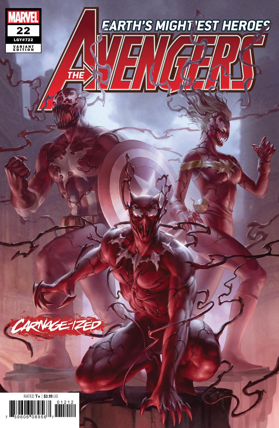 Avengers Vol 7 #22 Cover B Variant Junggeun Yoon Carnage-Ized Cover