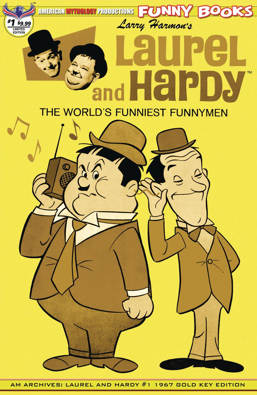 American Mythology Archives Laurel & Hardy #1 1967 Gold Key Edition Cover B Limited Edition Retro Animation Variant Cover
