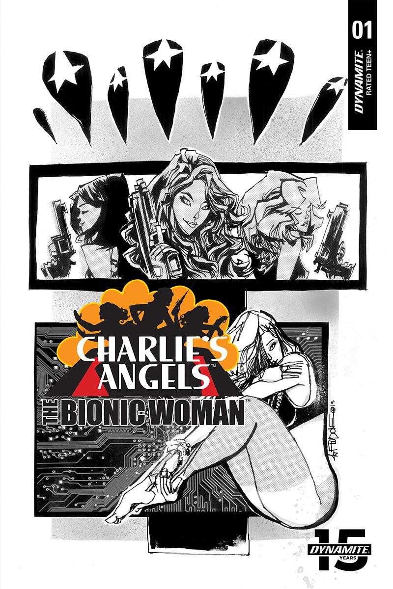 Charlies Angels vs The Bionic Woman #1 Cover D Incentive Jim Mahfood Black & White Cover
