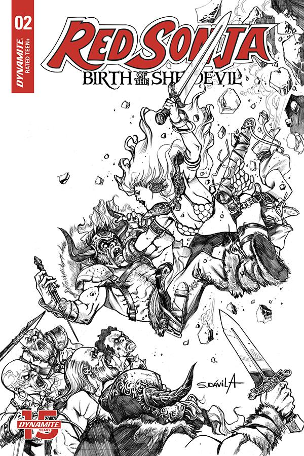 Red Sonja Birth Of The She-Devil #2 Cover F Incentive Sergio Davila Black & White Cover