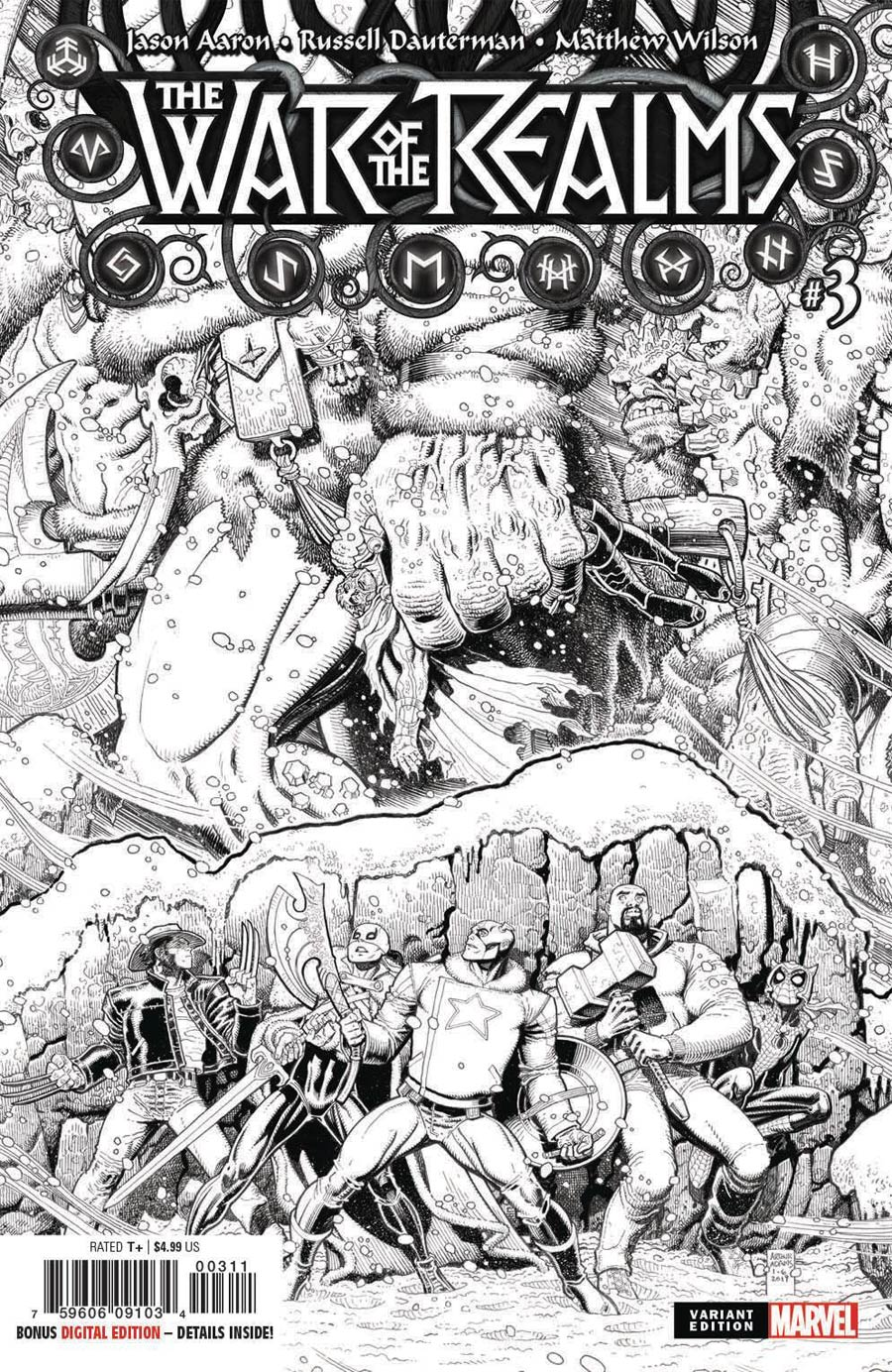 War Of The Realms #3 Cover I Incentive Arthur Adams Black & White Cover
