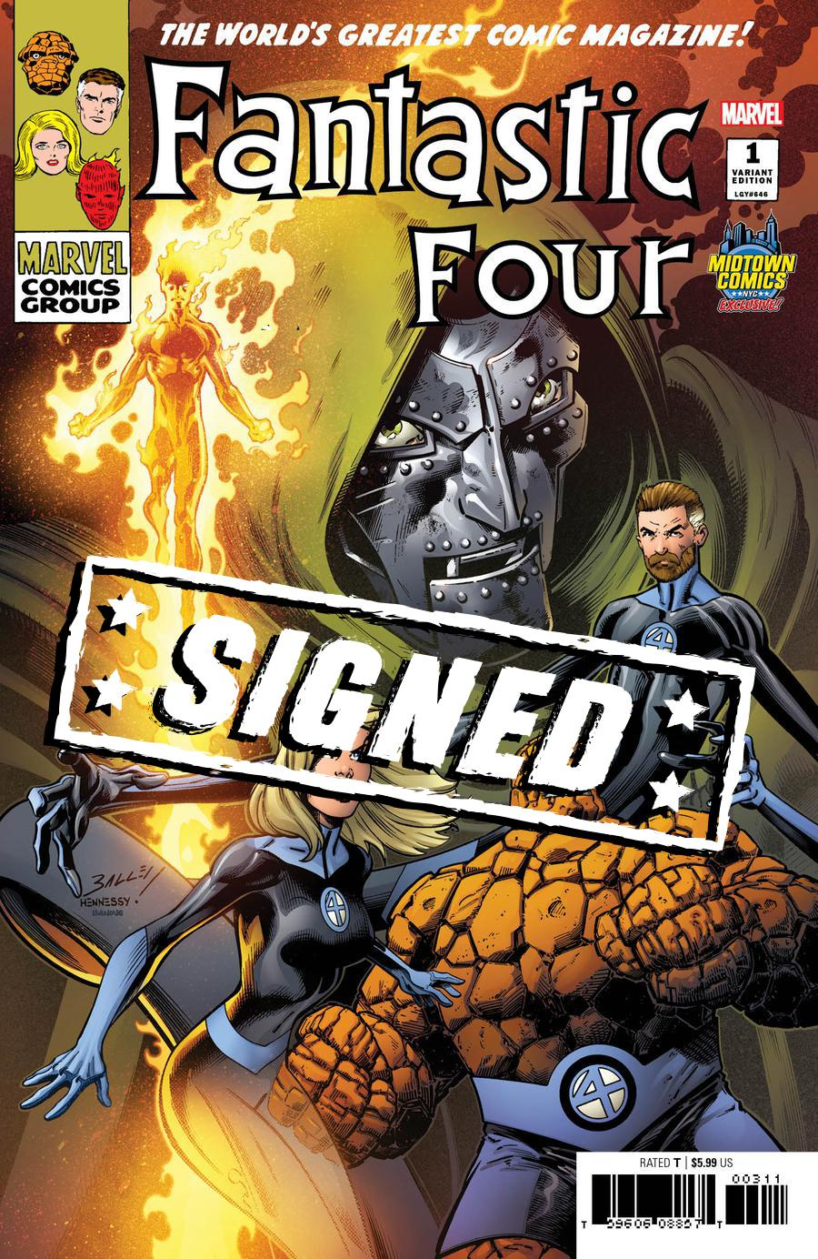 Fantastic Four Vol 6 #1  Midtown Exclusive Mark Bagley Variant Cover Signed By Dan Slott