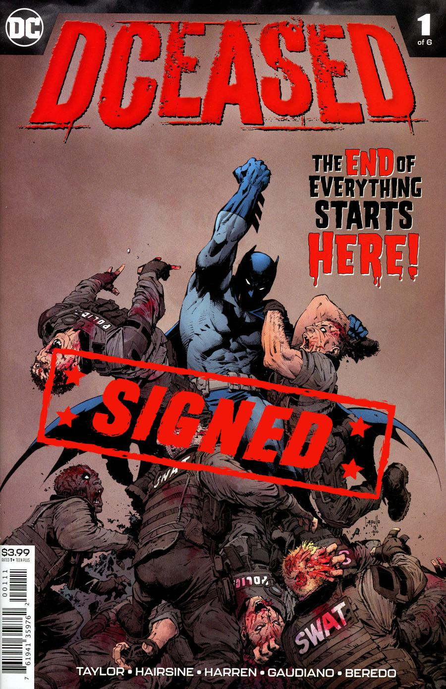 DCeased #1 Cover G Regular Greg Capullo Cover Signed By Tom Taylor