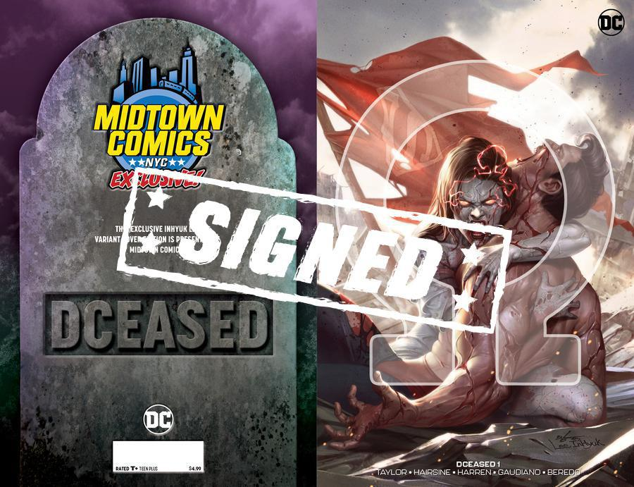 DCeased #1  Midtown Exclusive Cover B Inhyuk Lee Connecting Omega Variant Cover Signed By Tom Taylor